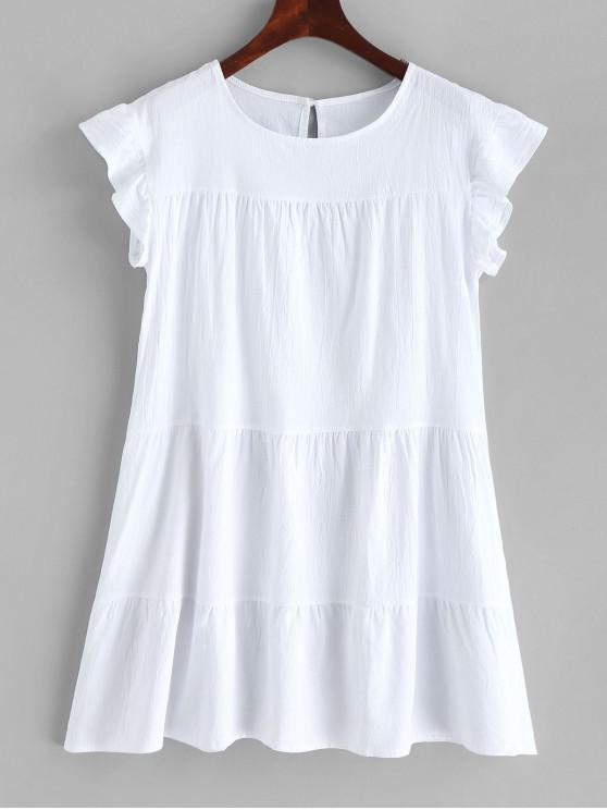 trendy Round Neck Mini Solid Dress - WHITE L