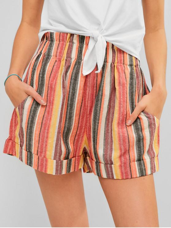 Shorts de bolsos de papel con dobladillo y dobladillo a rayas - Multicolor S