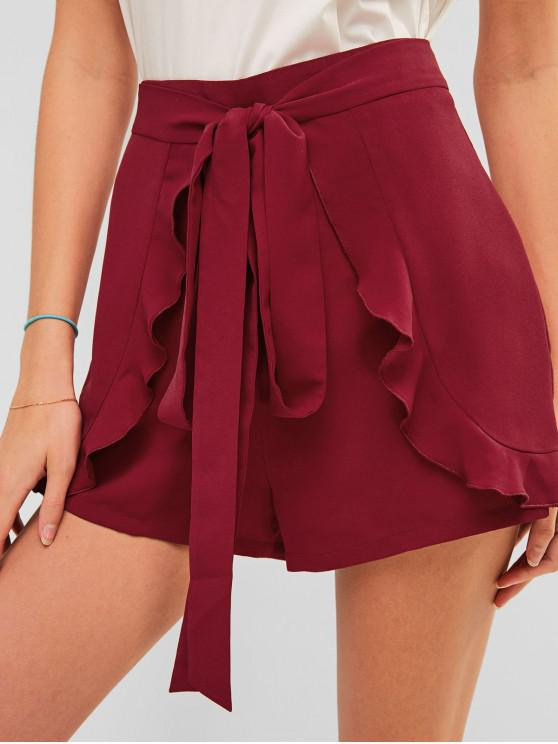 sale ZAFUL Casual Zip Fly Tie Ruffled Shorts - RED WINE M