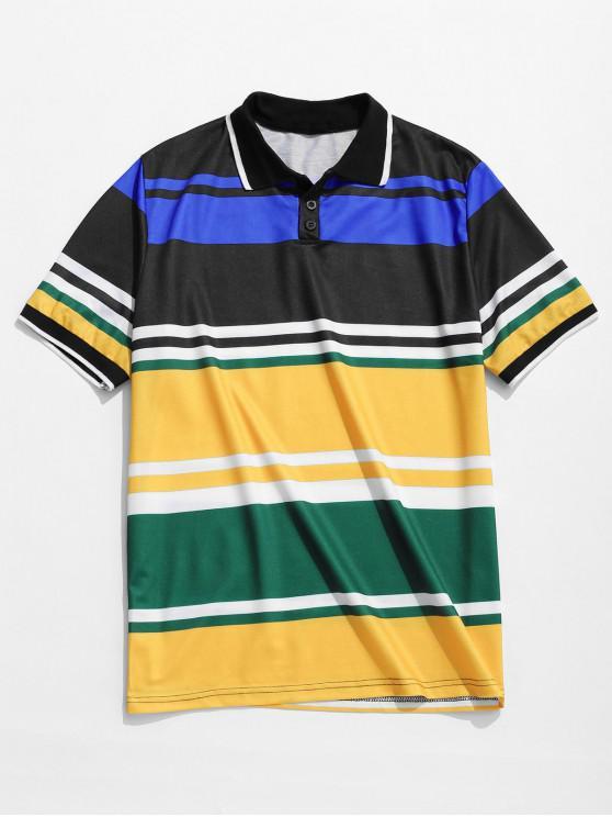 Camiseta estampada con estampado geométrico a rayas de botones de color - Multicolor 3XL