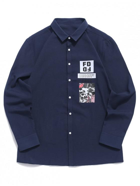 latest Letter Paint Graphic Print Button Shirt - DARK SLATE BLUE L