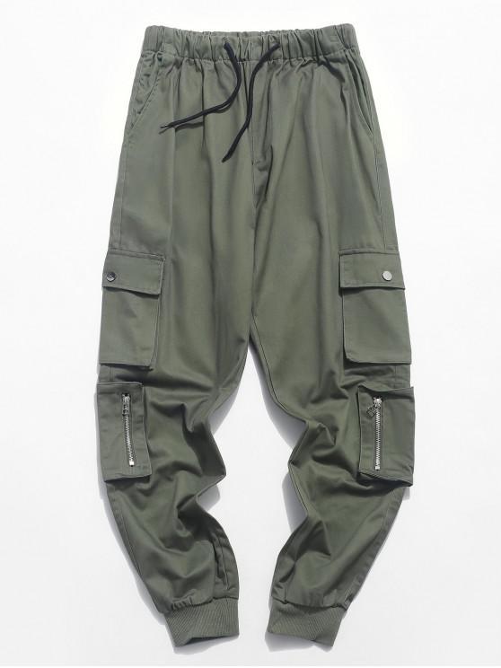 shop Zipper Pocket Solid Color Drawstring Jogger Pants - CAMOUFLAGE GREEN M