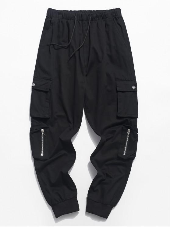 Zipper bolsillo color sólido cordón jogger pantalones - Negro M