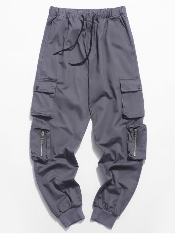 Pantaloni da jogger con coulisse in tinta unita tascabile - Grigio S