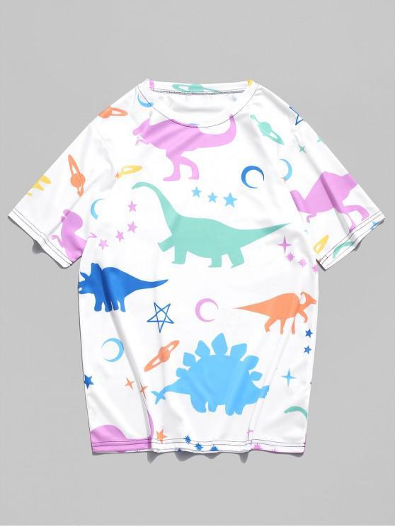 outfit Moon Star Planet Dinosaur Print T-shirt - WHITE 3XL