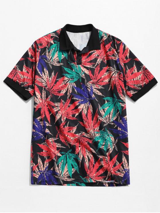 Camiseta con cuello redondo y hombros descubiertos de Leaf - Multicolor L