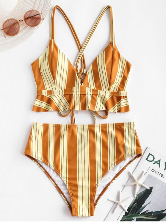 womens ZAFUL Double Strap Crisscross Striped Tankini Swimsuit - ORANGE GOLD XL