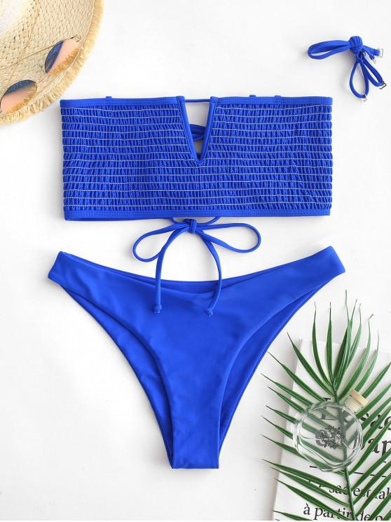 outfits ZAFUL V-wired Neon Smocked Bikini Set - COBALT BLUE M