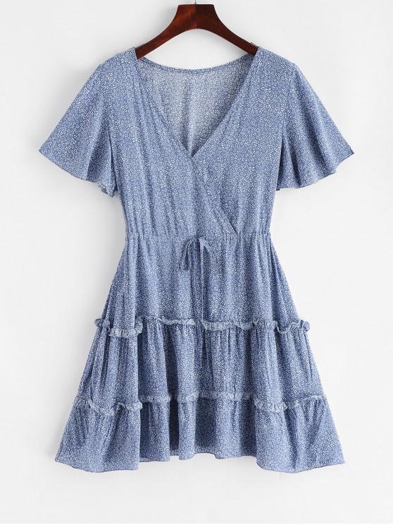 women Tiny Floral Drawstring Mini Surplice Dress - CORNFLOWER BLUE M