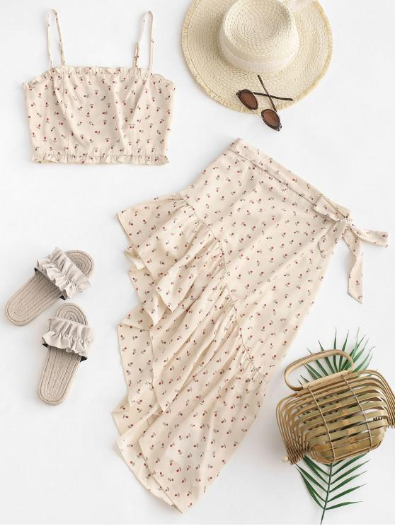 buy ZAFUL Smocked Floral Cami Crop Top and Asymmetric Skirt Set - APRICOT M