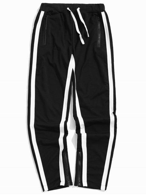 lady Stripes Paneled Side Zipper Sport Pants - MULTI-C L Mobile