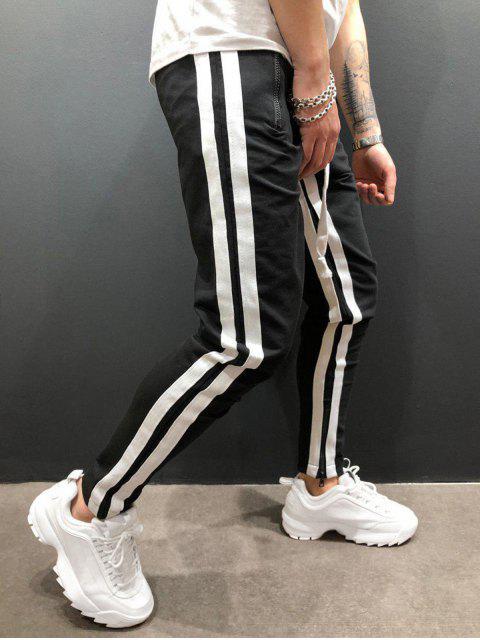 online Stripes Paneled Side Zipper Sport Pants - MULTI-C 2XL Mobile