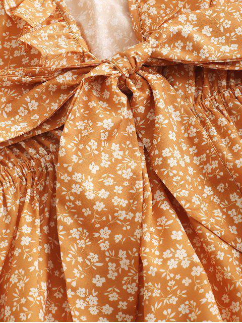 ZAFUL Robe Fleurie Nouée en Avant à Volants - Jaune d'Abeille M Mobile