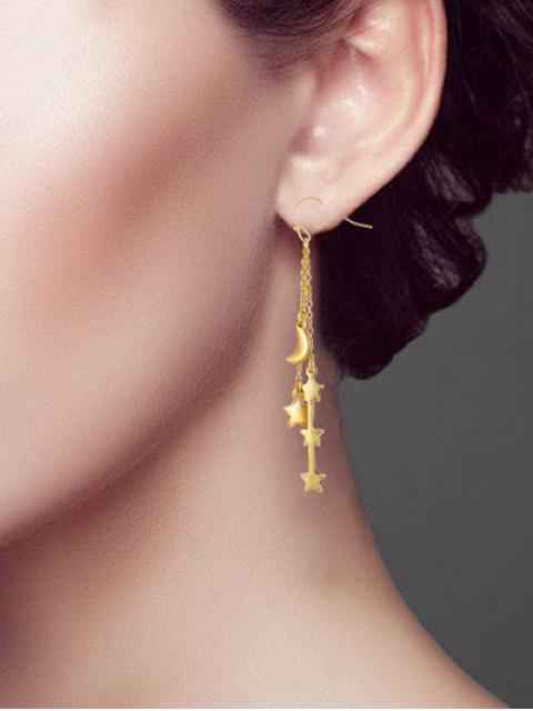 Звезда Луна Длинные Цепные Серьги-обруч - Золотой  Mobile