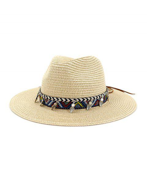 lady Straw Beach Style Outdoors Strap Decorated Hat - BEIGE  Mobile
