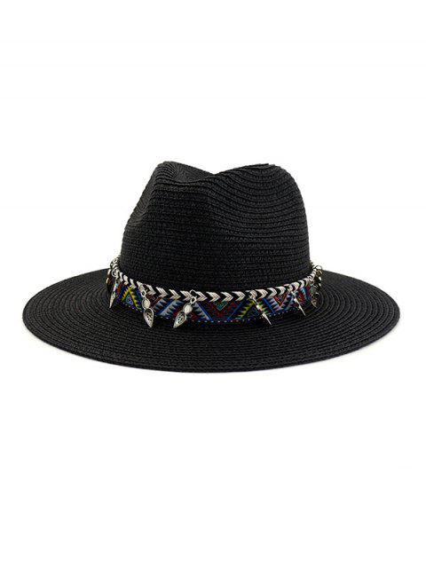 outfits Straw Beach Style Outdoors Strap Decorated Hat - BLACK  Mobile