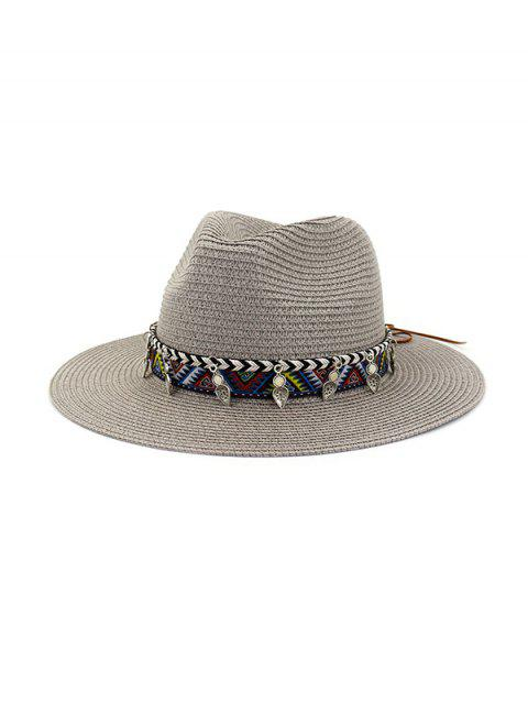 trendy Straw Beach Style Outdoors Strap Decorated Hat - GRAY  Mobile