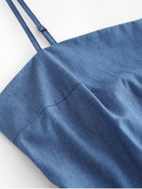 ZAFUL Robe Courte à Bretelle Nouée au Dos en Vichy - Bleu Toile de Jean L Mobile