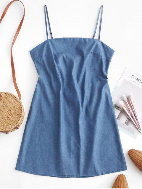 ZAFUL Robe Courte à Bretelle Nouée au Dos en Vichy - Bleu Toile de Jean S Mobile