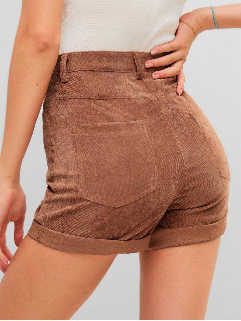 best High Waisted Plain Cuffed Shorts - CHESTNUT M Mobile