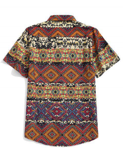 fancy Ethnic Tribal Floral Geometric Print Shirt - WOOD 3XL Mobile