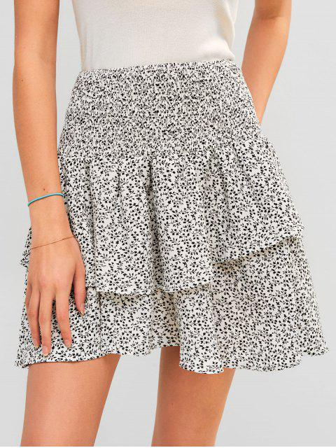 outfit ZAFUL Flounce Printed Smocked Mini Skirt - WHITE S Mobile