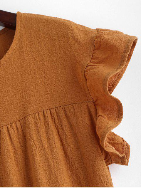 best Round Neck Mini Solid Dress - TIGER ORANGE S Mobile