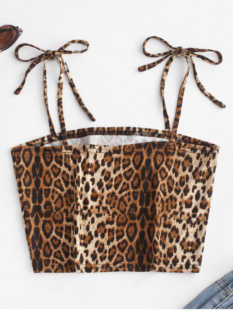 ZAFUL Top Cami do Ombro da Cortadoda Gravata - Leopardo M Mobile
