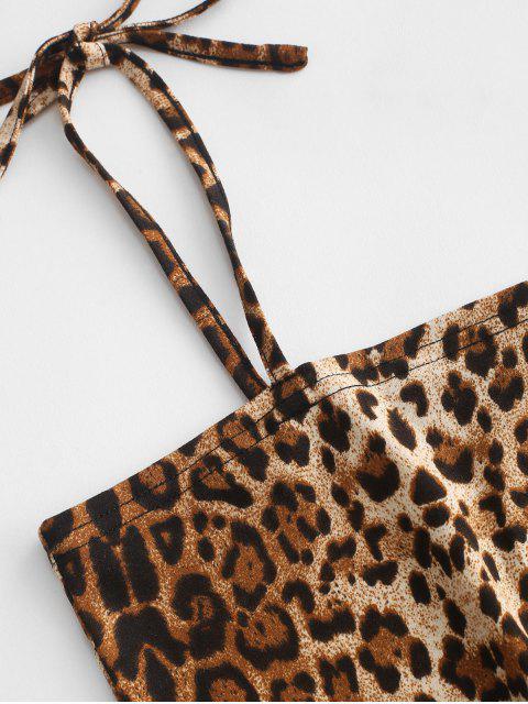 trendy ZAFUL Leopard Tie Shoulder Cami Crop Top - LEOPARD S Mobile
