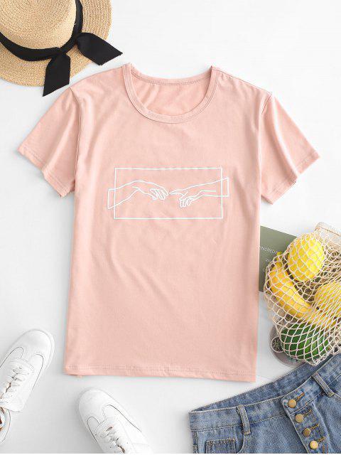 Camiseta de jersey con gráfico a mano - Rosa S Mobile