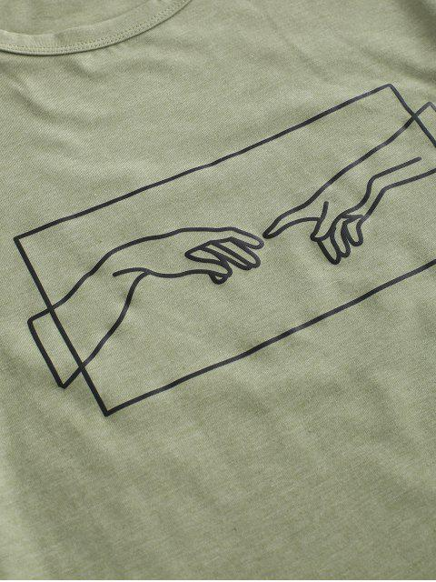 latest Hand Graphic Jersey Tee - FERN GREEN L Mobile