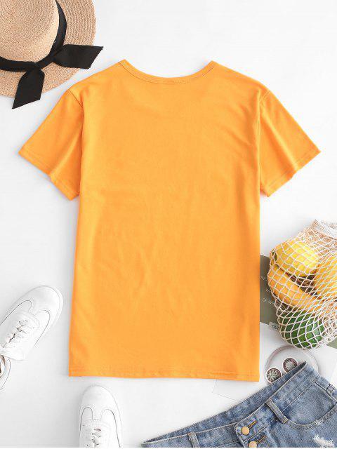 ladies Hand Graphic Jersey Tee - BEE YELLOW S Mobile