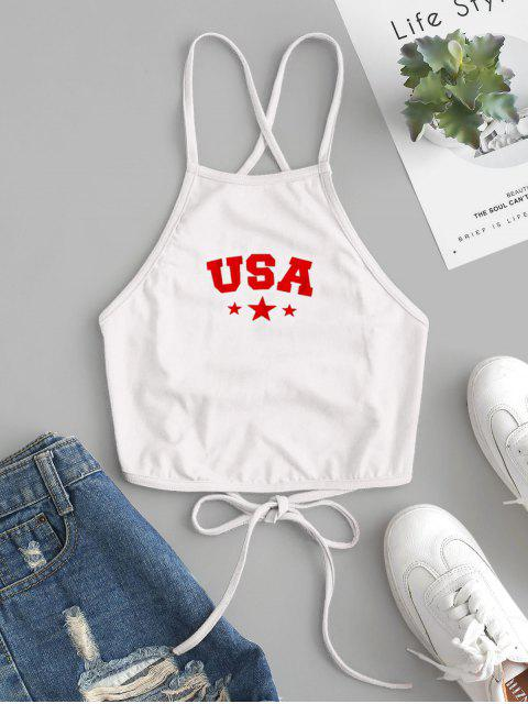 shops ZAFUL Star Letter Graphic Lace Up Cami Top - WHITE S Mobile