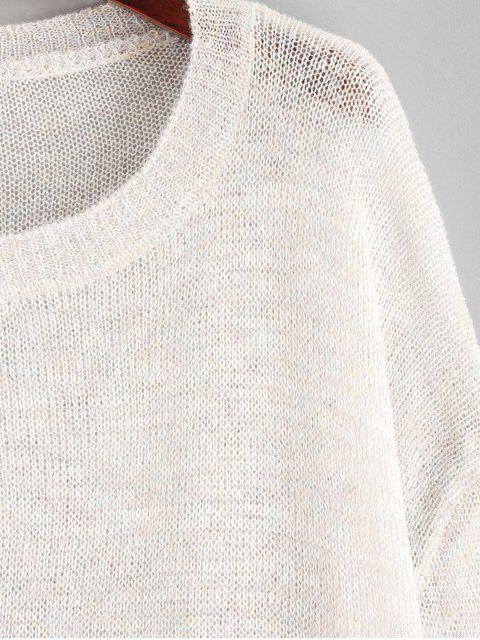 lady Multicolor Drop Shoulder Slit Knit Cover Up Top - WARM WHITE ONE SIZE Mobile