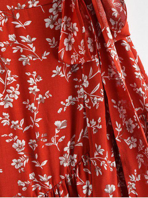 Robe Ligne A Fleurie Noué Imprimé à Volants - Châtaigne Rouge S Mobile