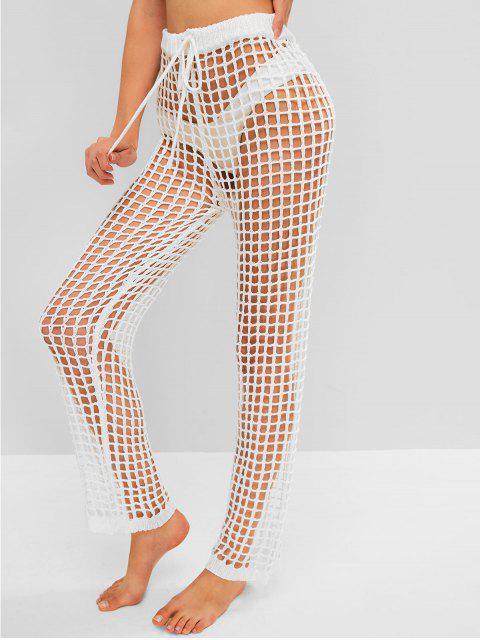 sale Drawstring Beach Crochet Pants - WHITE ONE SIZE Mobile