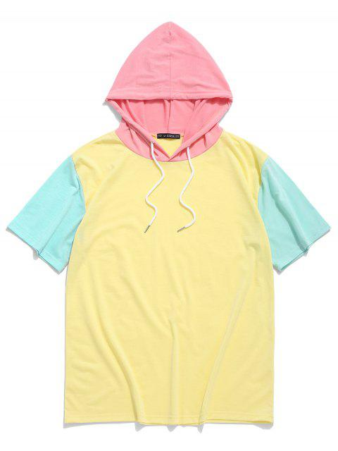 latest ZAFUL Color Block Panel Hooded T-shirt - YELLOW XL Mobile