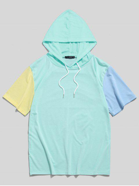 outfit ZAFUL Color Block Panel Hooded T-shirt - MEDIUM TURQUOISE 2XL Mobile