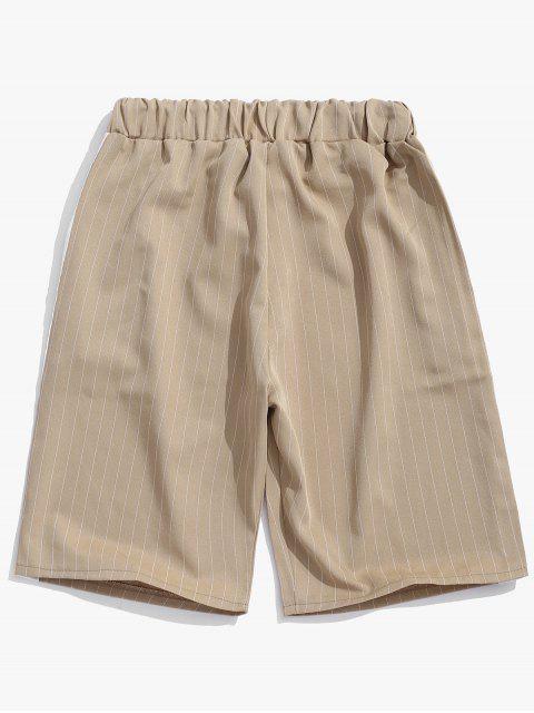 Pantalones cortos con estampado de rayas de bloques de colores - Caqui M Mobile