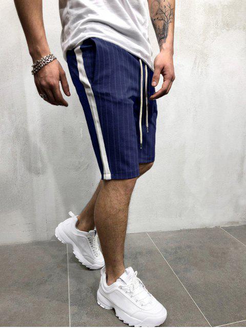 Pantalones cortos con estampado de rayas de bloques de colores - Cadetblue M Mobile