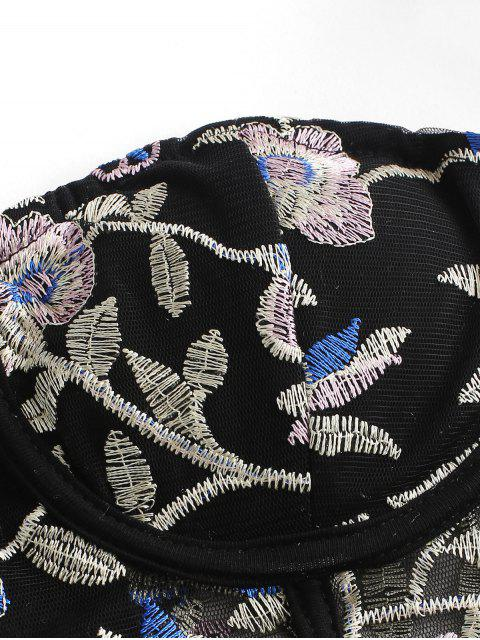 fancy Flower Embroidered Mesh Underwire Tube Top - BLACK S Mobile