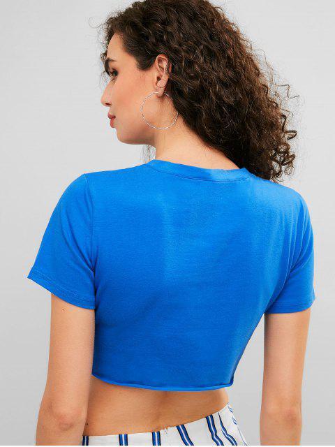 T-shirt court avec lettre graphique et col rond - Bleu Myrtille M Mobile
