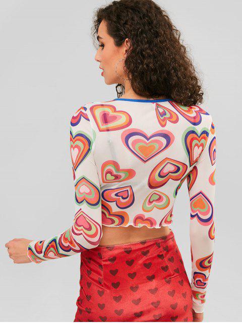 T-shirt à mailles avec imprimé de laitue et cœur - Multi-A S Mobile