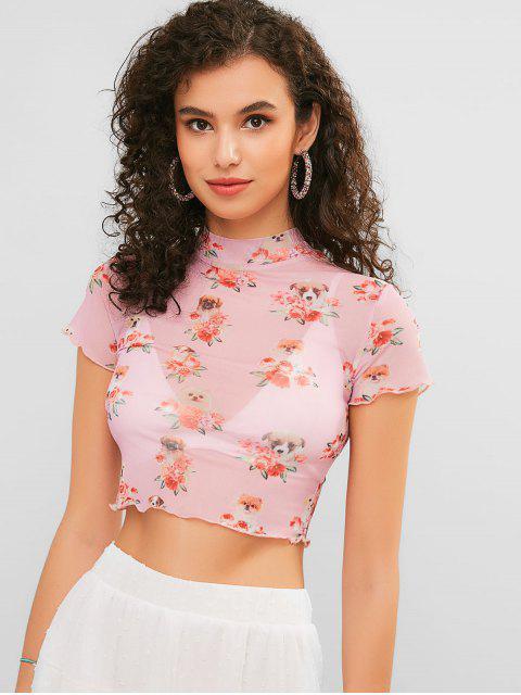Tee-shirt en maille à imprimé fleuri pour chien - Rose Cochon S Mobile