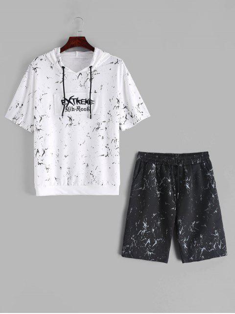 T-shirt à capuche et shorts en marbre à imprimé patchwork - Multi XL Mobile