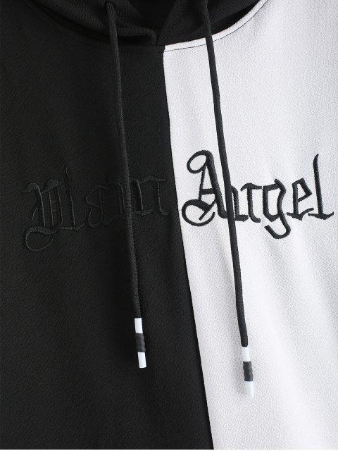 Camisa y pantalones cortos con capucha con empalme de bloques de color de letras - Negro S Mobile