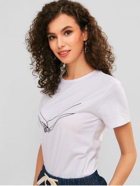 T-shirt Graphique à Manches Courtes - Blanc M Mobile