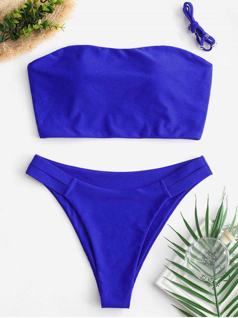 ZAFUL Bikini Bandeau de Pierna Alta Cruzada - Azul de Arándanos M Mobile