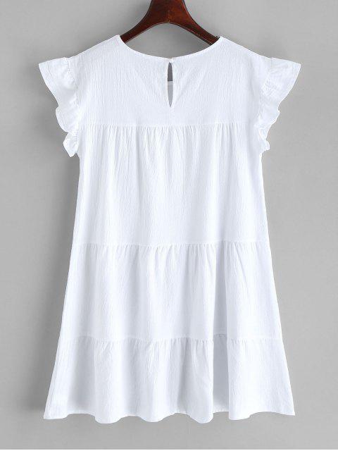 Mini Robe à Col Rond en Couleur Unie - Blanc S Mobile