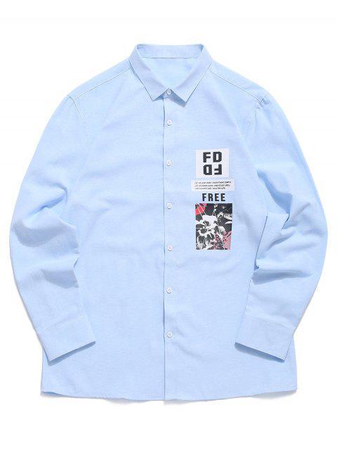 Lettre Button Graphic Print Button Button - Bleu Ciel Léger  XS Mobile